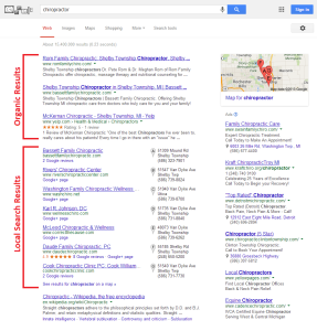 Example of difference between organic search results and local search results in Google.